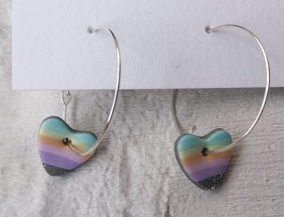 Pastel Rainbow Hoops - Hearts