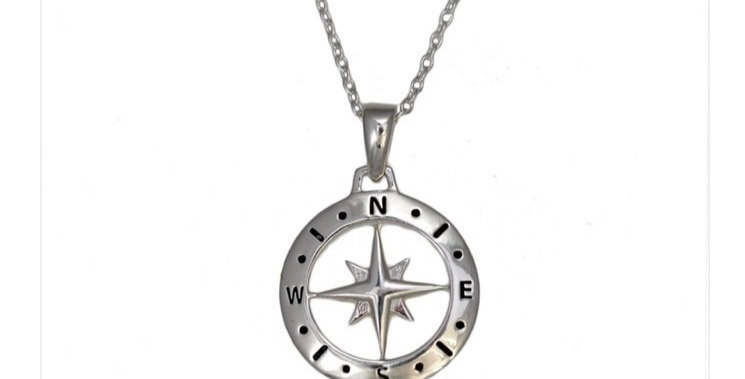 Love's Compass Silver Necklace