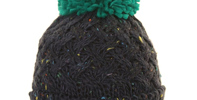 MENS Speckle Chunky Knit Bobble Hat - Green