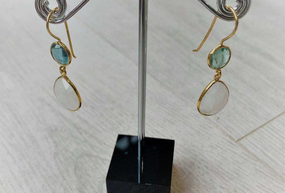 Aqua Marine and Moonstone on 13K gold plated hooks