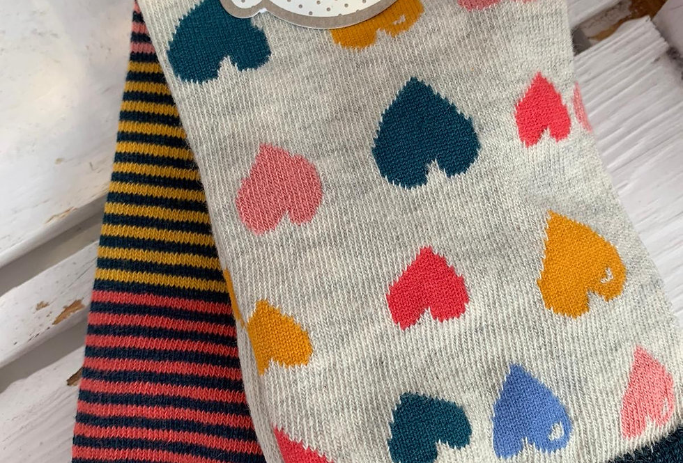 Multi heart socks