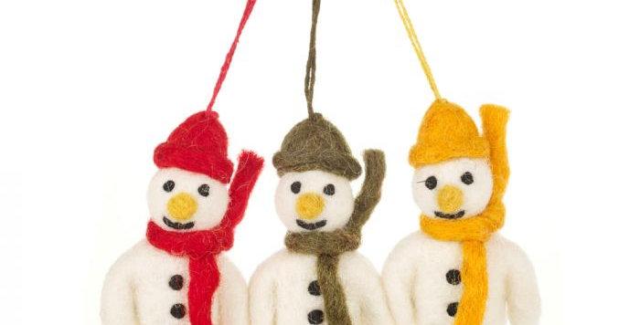 Hanging Felt Mini Mr. Snowmen (Set of 3) Handmade Christmas Decoration