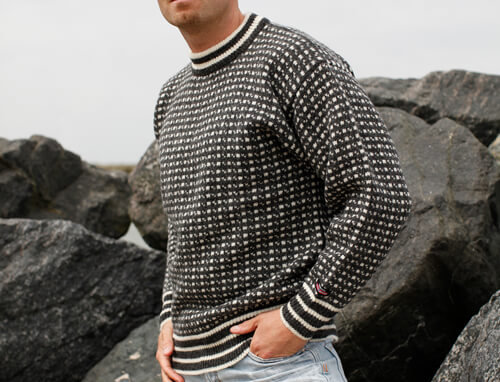 Faroese jumper in traditional pattern of 100% pure new wool