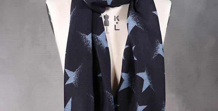 Reversible Star Print Scarf - Blue