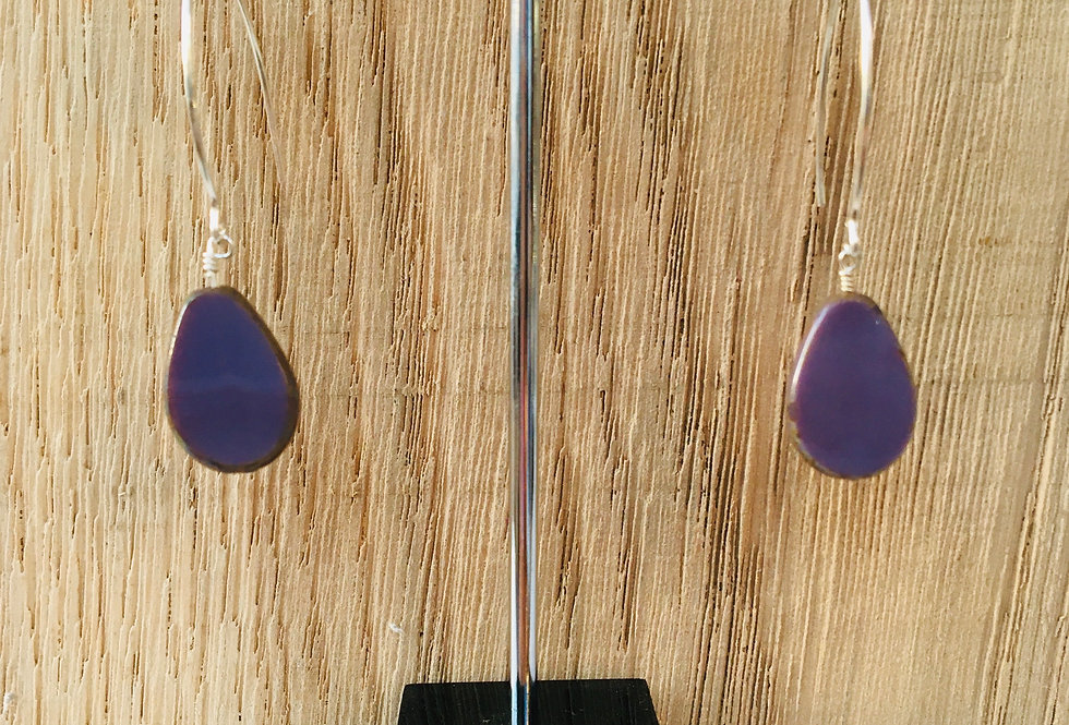 Picasso Stone Earrings - Purple