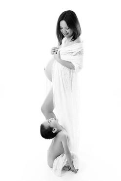 těhotenská fotka se synem