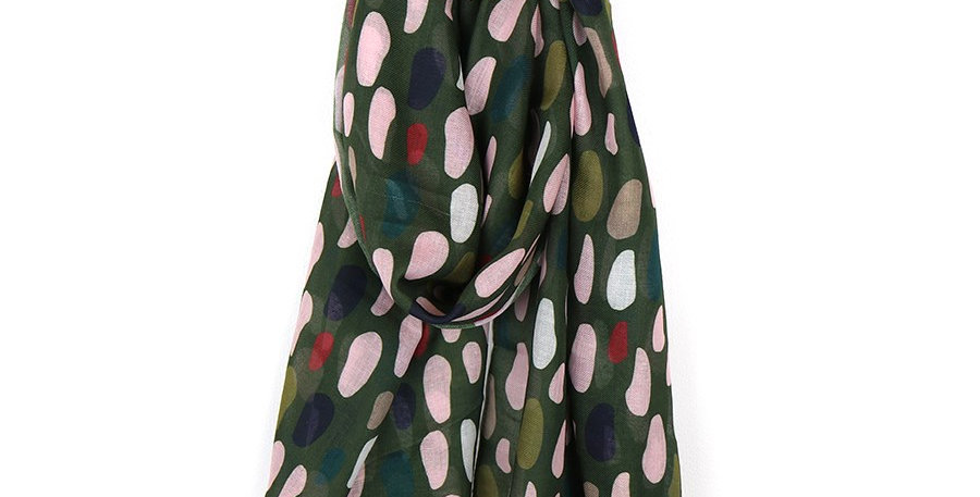 Khaki recycled scarf with multi oval print