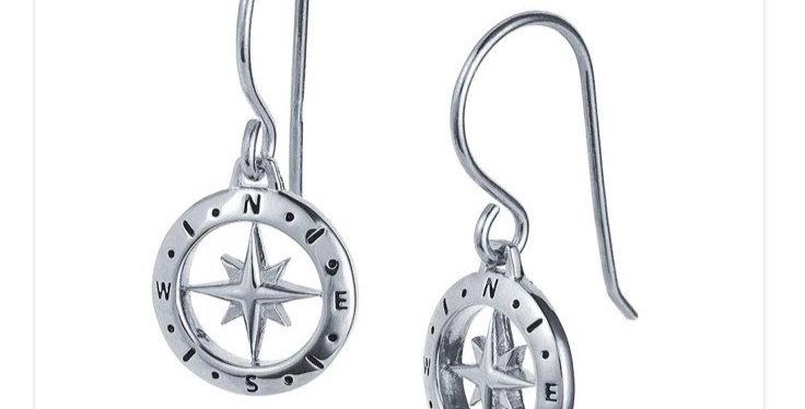 Love's Compass Silver Earrings