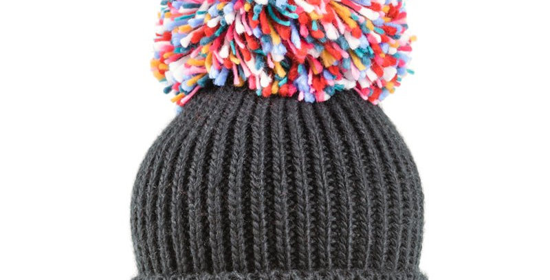 Ladies Extra Large Multi Knitted Pompom