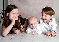 focení se třemi 3 dětmi