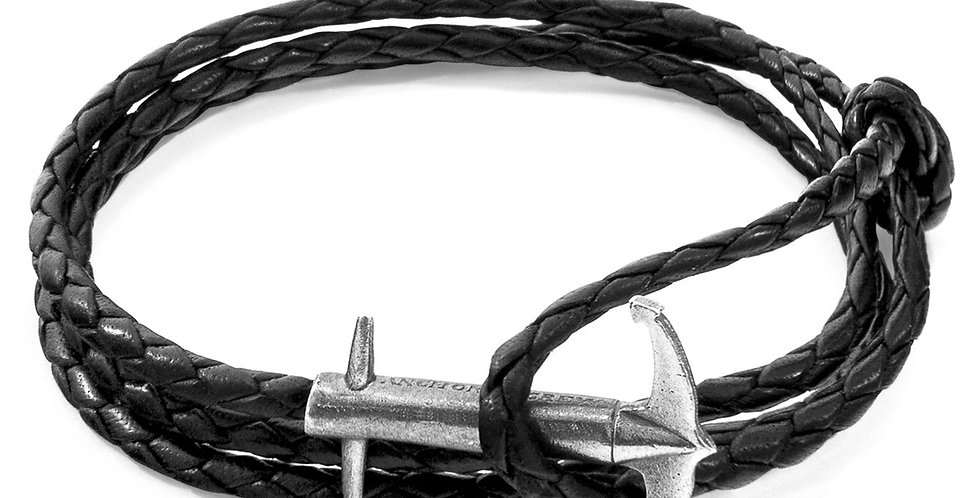 COAL BLACK ADMIRAL ANCHOR SILVER AND BRAIDED LEATHER BRACELET