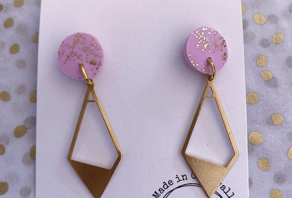 Signature diamond dangles - pink