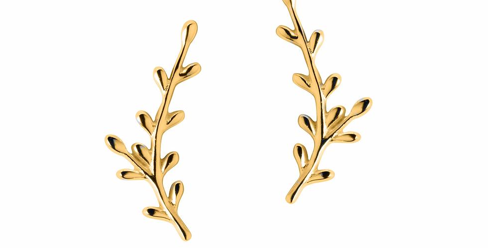 Gold leaf climber earrings