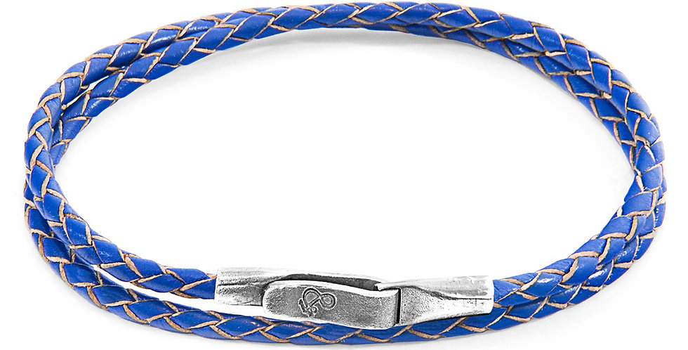 ROYAL BLUE LIVERPOOL SILVER AND BRAIDED LEATHER BRACELET