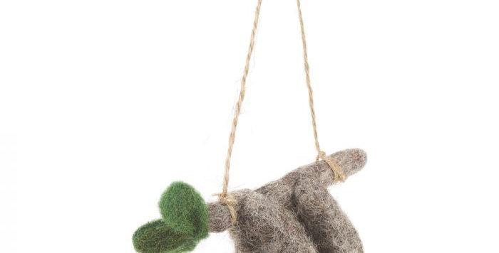 Handmade Felt Biodegradable Christmas Sloth Tree Hanging Decoration