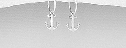 925 Sterling Silver Hoop and Anchor Charm Earrings