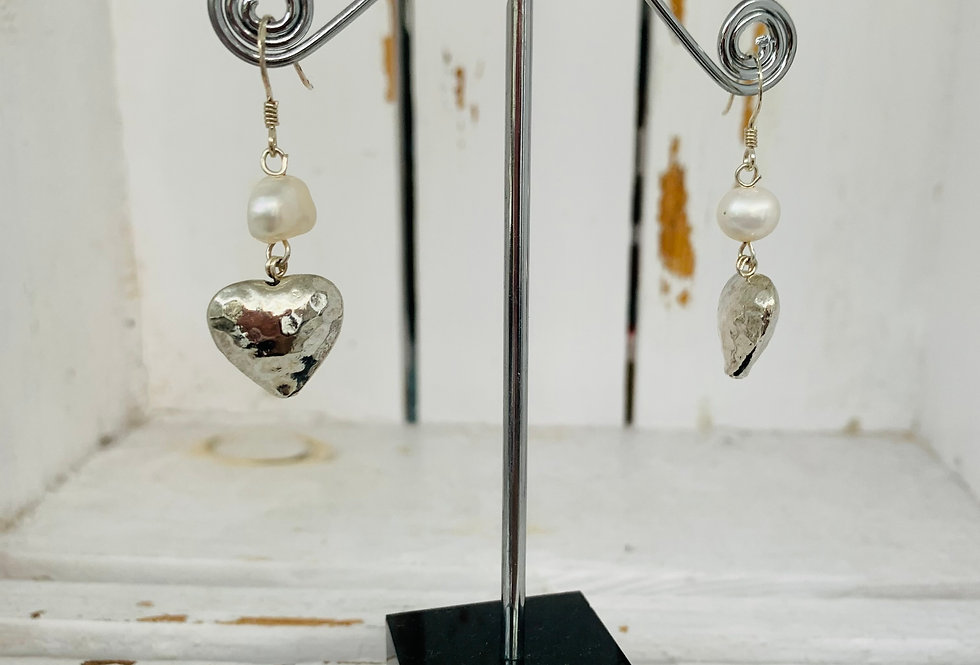 Silver heart and fresh water pearl danlges - white