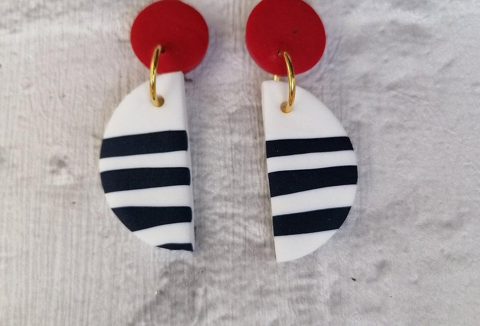 Nautical semi circle dangles - red