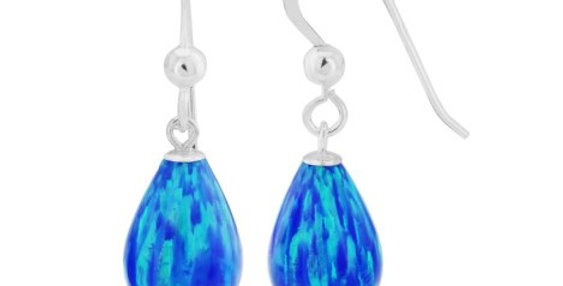 Dark Blue Opal Teardrop Earrings