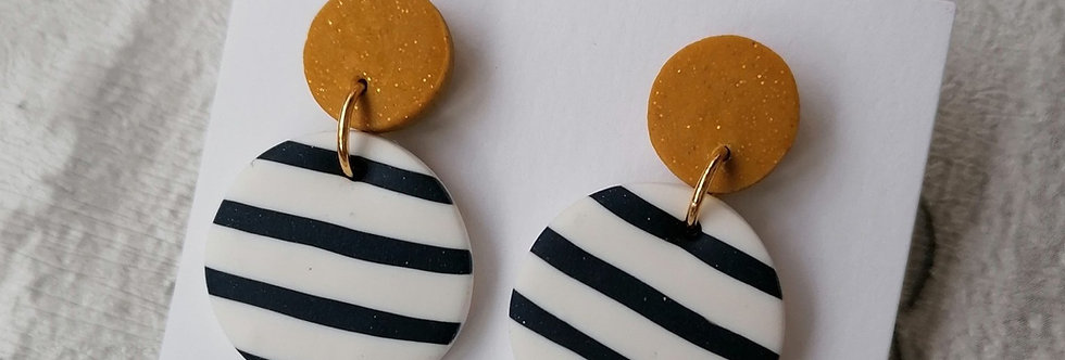 Nautical Navy Striped Dangles - Gold Top