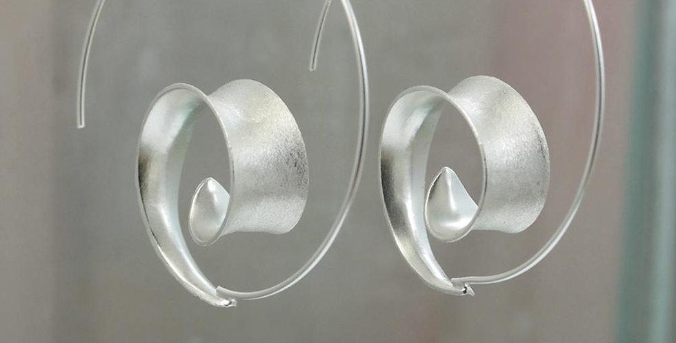 Curl Hoop Silver Earrings