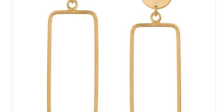 Rectangular Drop Gold Earrings