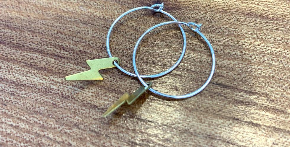 Small brass hoops - lightening bolt