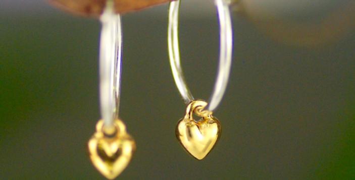 Sterling Silver Hoop and Gold Heart Earrings