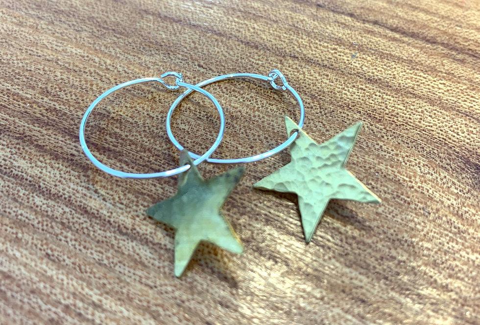 Small brass hoops - star