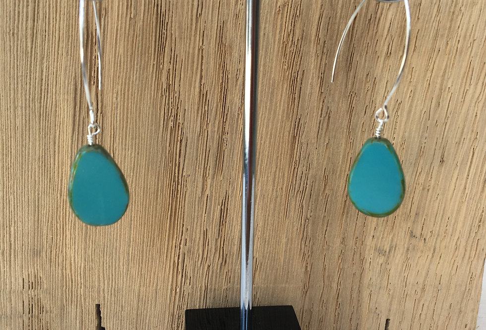 Picasso Stone Earrings - Teal