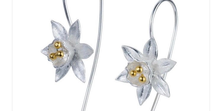 Daffodil Silver and Gold Flower Earrings