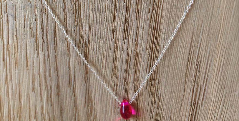 Teardrop Bead Necklace - Pink
