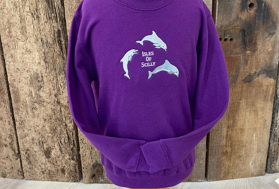 Children's Scilly sweat - Dolphin, purple