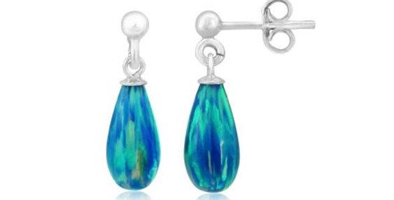 Aqua Teardrop Opal Silver Drop Earrings