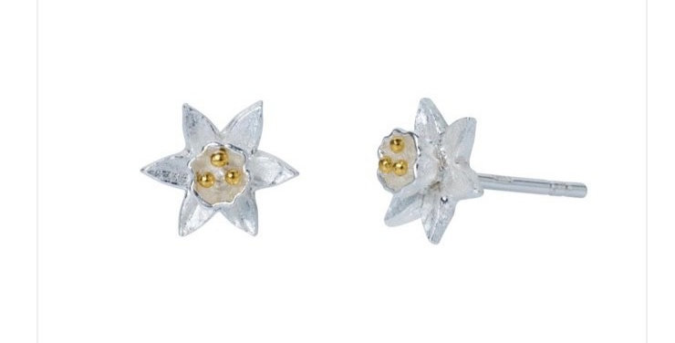 Daffodil Silver and Gold Stud Earrings