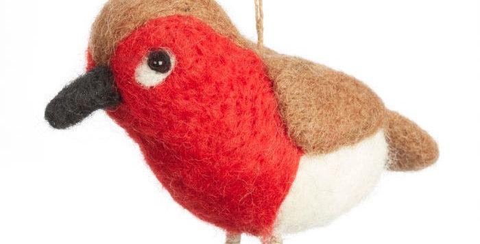 Handmade Felt Red Robin Hanging Decoration