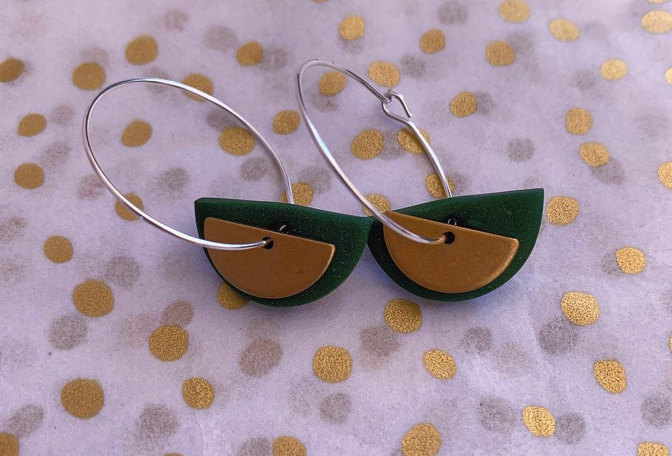 Mini brass semi circle hoops - green
