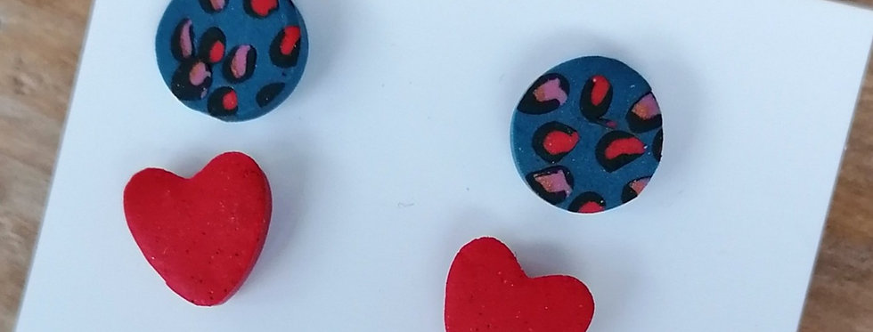 Animal print stud duos - red hearts