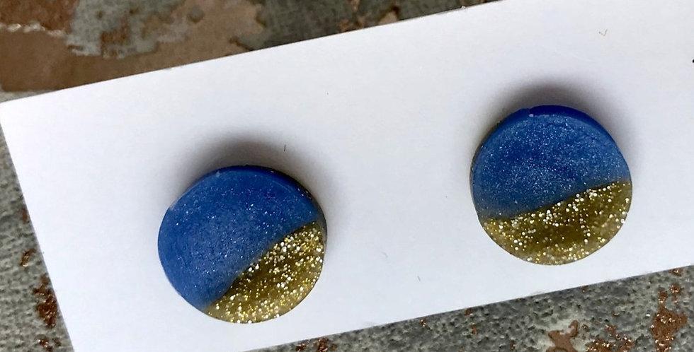 Stunning glitter gold studs - icy blue