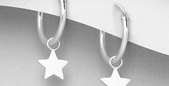 925 Sterling Silver Hoop and Star Charm Earrings
