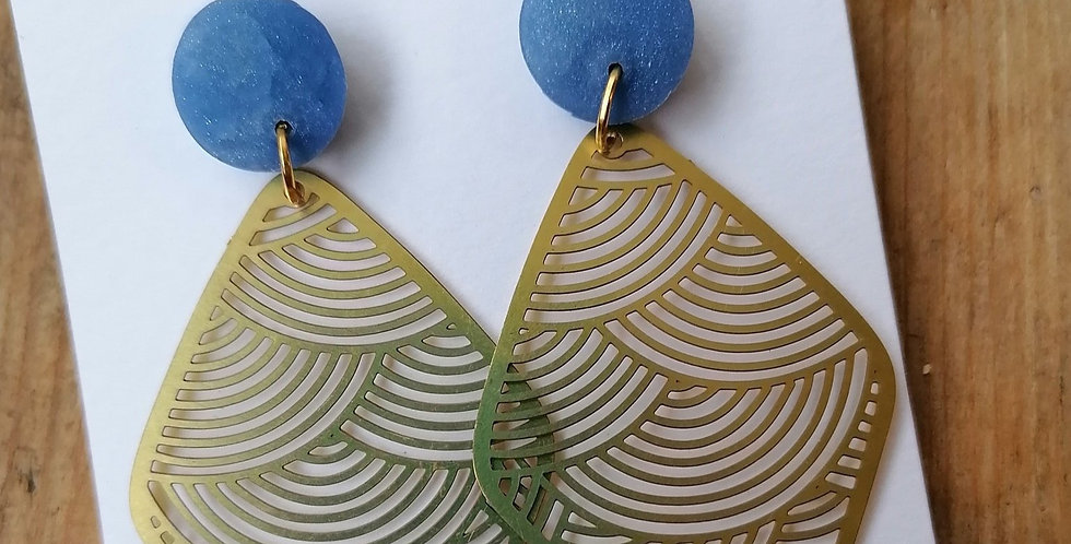 Delicate Brass Waves - Blue