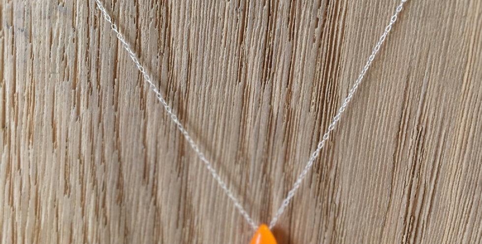 Teardrop Bead Necklace - Orange