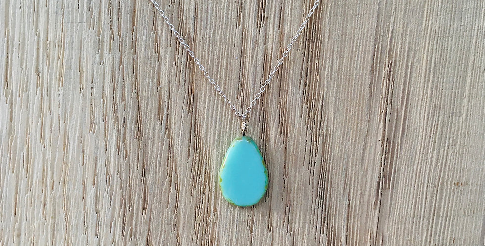 Picasso Stone Necklace - Teal