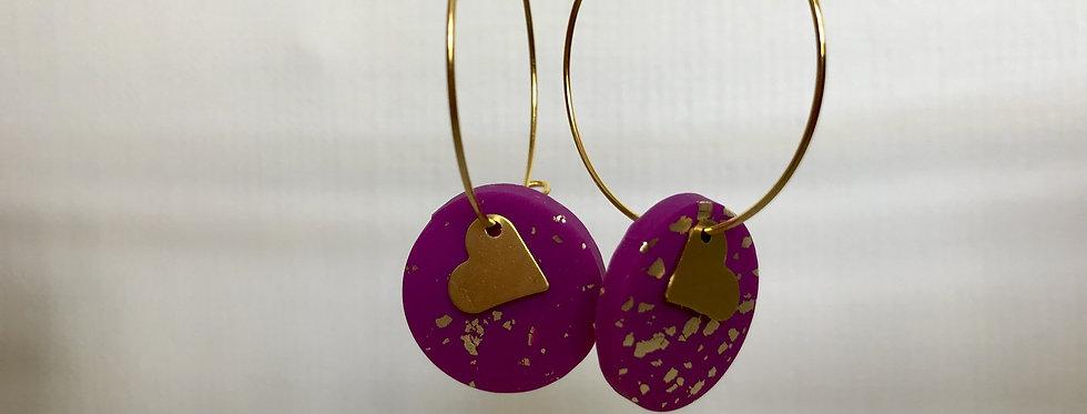 Heart disc hoops - Purple