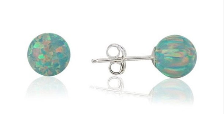Green Opal Bead Stud Earrings - 4mm