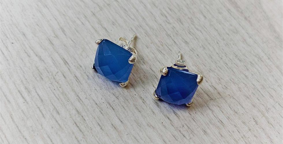 Blue Chalcedony silver studs