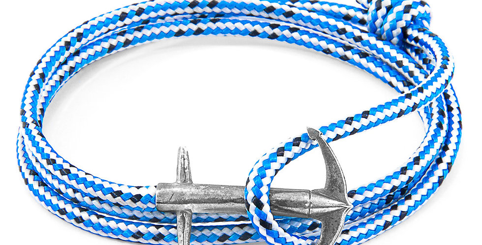 BLUE DASH ADMIRAL ANCHOR SILVER AND ROPE BRACELET (BIG OCEAN CLEANUP)