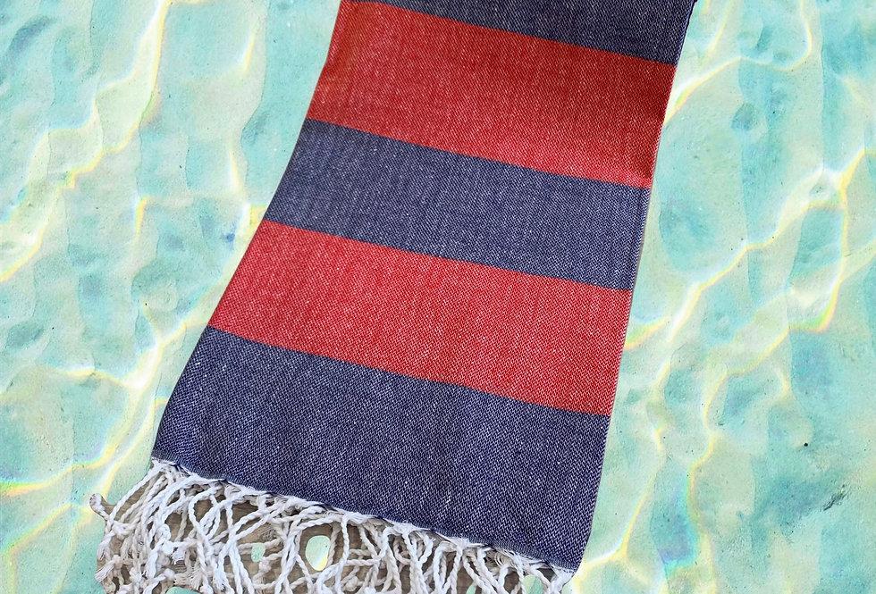 Turkish Towel - navy/red
