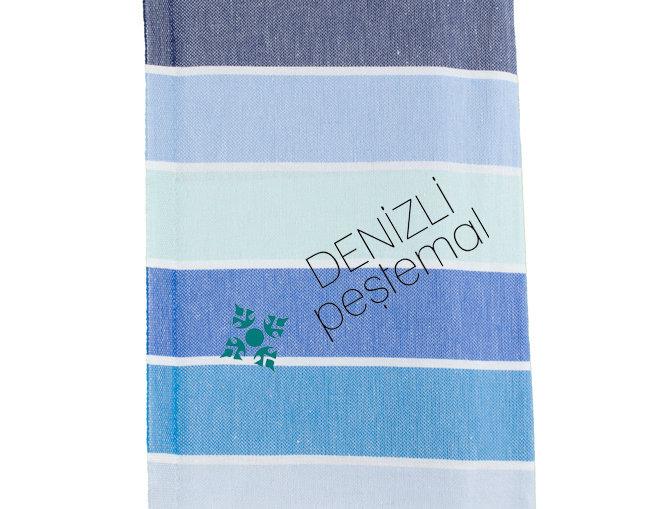 Turkish Towel - blue rainbow stripe