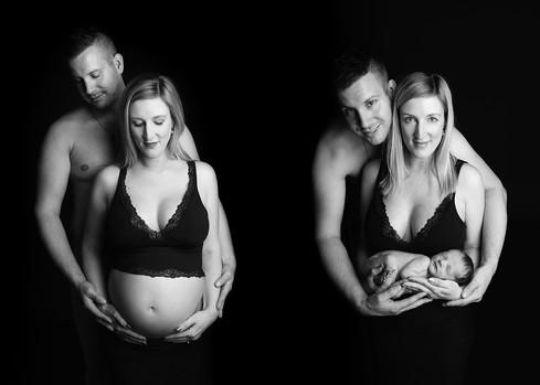 těhotenské focení 2 fotky před a po